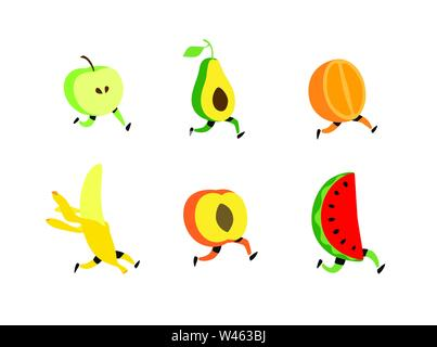 Illustration of running fruit. Vector. Fruit cocktail characters, healthy food. Cute apple, avacado, watermelon, banana, orange peaches with feet. Liv - Stock Photo
