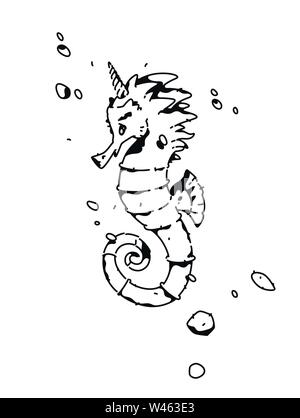 Linear drawing of a sea horse. Fashion tattoo. Vector. Outline drawing. Hipster style. T-shirt pattern. - Stock Photo