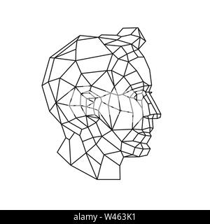 Low poly illustration of a man's head. Vector. Outline drawing. Retro style. Background, symbol, emblem for the interior. Business metaphor. - Stock Photo