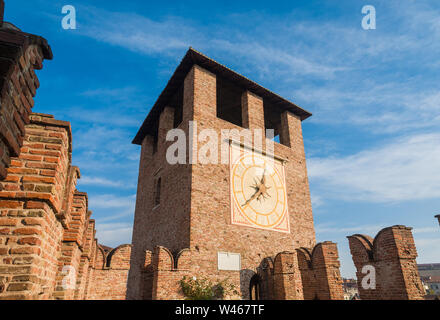View of the beautiful Clocktower of Castelvecchio (Old Castle) in Verona, now the msot important civic museum of the city - Stock Photo