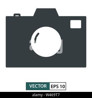 Camera icon, symbol, flat design isolated on white. Vector illustration EPS 10 Stock Photo