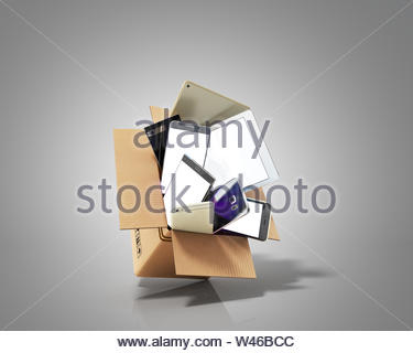 concept of fast delivery modern Smartphones flies out of the package on grey background 3d render - Stock Photo