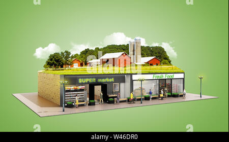 the concept of ecologically pure food showcases grocery supermarkets with a farm on the roof 3d render on green - Stock Photo