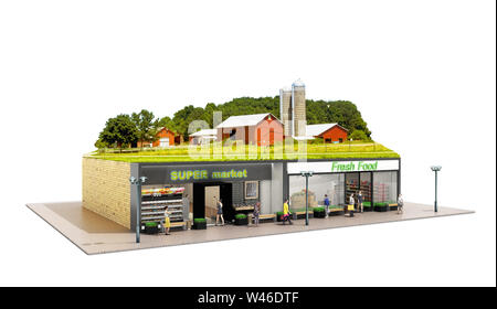 the concept of ecologically pure food showcases grocery supermarkets with a farm on the roof 3d render on white - Stock Photo