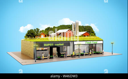 the concept of ecologically pure food showcases grocery supermarkets with a farm on the roof 3d render on blue - Stock Photo