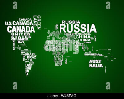 The world map with all states and their names 3d illustration on green - Stock Photo