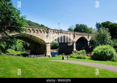 Mercury Bridge the Old Bridge over the River Swale Richmond, North Yorkshire - Stock Photo