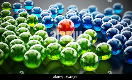 Red shiny sphere standing out among green and blue spheres. 3D illustration.