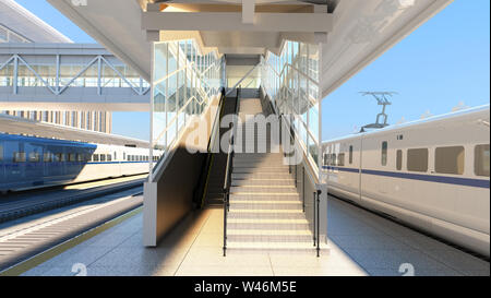High speed commuter train, 3d illustration isolated white