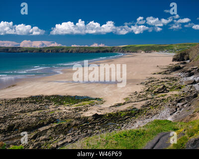 Newgale Beach in Pembrokeshire, Wales, UK on a summer day with blue sky and clouds - Stock Photo