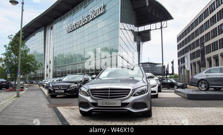 BERLIN, GERMANY-JULY 30, 2016: Mercede-Benz store exterior - Stock Photo