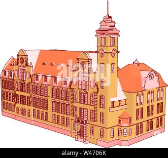 Red castle, illustration, vector on white background. - Stock Photo