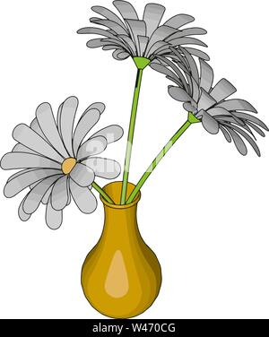 Yellow vase with flowers, illustration, vector on white background. - Stock Photo