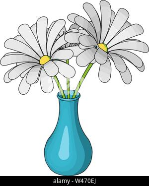 Blue vase with flowers, illustration, vector on white background. - Stock Photo