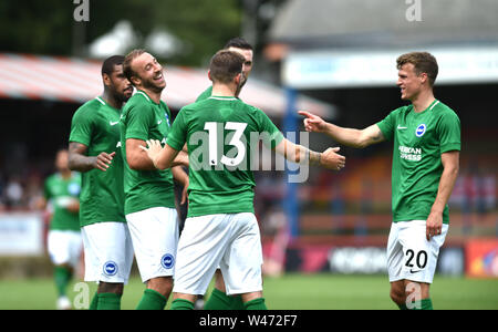 Aldershot UK 20th July 2019 -  Glenn Murray of Brighton (left) is all smiles with no 13 Pascal Gross of Brighton after they had scored in the first half from a free kick during the pre season friendly football match between Fulham and Brighton and Hove Albion at the The Electrical Services Stadium in Aldershot   . Credit : Simon Dack / Alamy Live News Stock Photo