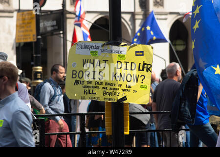 London, UK. July 20th 2019: Anti Brexit protesters gather in Parliament Square following a march through London. It has been estimated that 1 million people attended from all regions in the country Credit: Bridget Catterall/Alamy Live News Credit: Bridget Catterall/Alamy Live News - Stock Photo