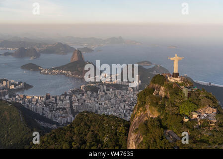 View from helicopter window to Rio de Janeiro, Brazil - Stock Photo