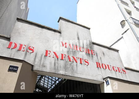 Marche des Enfants Rouges market entrance gate Paris France - Stock Photo