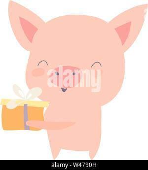 Pig holding gift, illustration, vector on white background. - Stock Photo