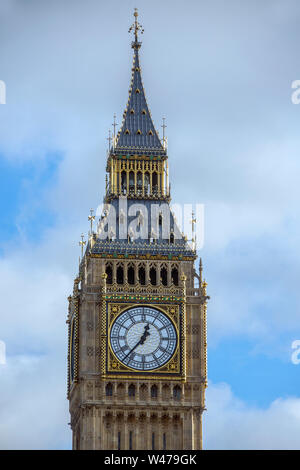 Big Ben is the nickname for the Great Bell of the clock at the north end of the Palace of Westminster in London, England. It is usually extended to re Stock Photo