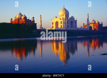 India. Agra. Taj Mahal at dawn. - Stock Photo