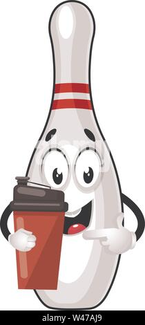 Bowling pin with thermos, illustration, vector on white background. - Stock Photo