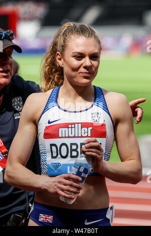 London, UK. 20th July, 2019. Beth Dobbin (GBR), finishes 3rd with a PB Women's 200m during the Muller Anniversary Games - London Grand Prix 2019 at the London Stadium, Queen Elizabeth Olympic Park, London, England on 20 July 2019. Photo by Ken Sparks. Credit: UK Sports Pics Ltd/Alamy Live News - Stock Photo