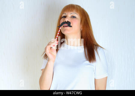 Having Fun With Face Mustache Happy Small Girl Small Girl Hold