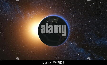 Space view on Planet Earth and Sun Star rotating on its axis in black Universe. Seamless loop with day and night city lights. High detailed 3D Render animation. Elements of image furnished by NASA - Stock Photo