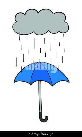 Vector hand-drawn illustration of it's raining and opened umbrella. Black outlines and colored. - Stock Photo