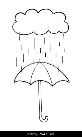 Vector hand-drawn illustration of it's raining and opened umbrella. Black outlines and white background. - Stock Photo