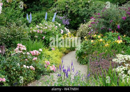 A mixed summer herbaceous border in high summer, Rosemoor, Devon, UK - John Gollop - Stock Photo