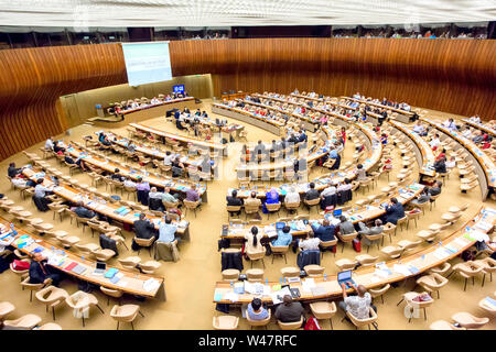 Conference room in Palace on Nations at United Nations in Geneva. Switzerland - Stock Photo