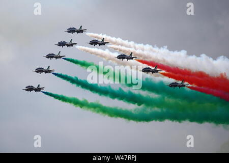 Fairford, UK. 20th July 2019. Frecce Tricolori displayed their colourful routine at RIAT Air Show at Fairford. © Uwe Deffner / Alamy Live News - Stock Photo