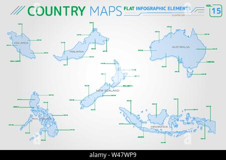 Malaysia, Indonesia, Australia, New Zealand and Philippines Vector Maps - Stock Photo