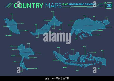 Singapore, Malaysia, Indonesia and Thailand Vector Maps - Stock Photo