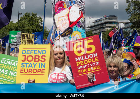 London, UK. 20th July 2019. People and posters at the front of the march from Park Lane to a rally in Parliament Square organised by grassroots groups to urge the UK to ditch Brexit and Boris Johnson and stay in Europe. They say poll after poll shows that the public would now vote Remain, and that the leave case was full of lies, with no-one voting for the kind of disastrous no-deal Brexit that Johnson and his supporters now propose and call for a new people's vote. The UK is now a pro-EU country and should remain in full EU membership to build a cleaner, greener, safer, fairer life for all. P - Stock Photo