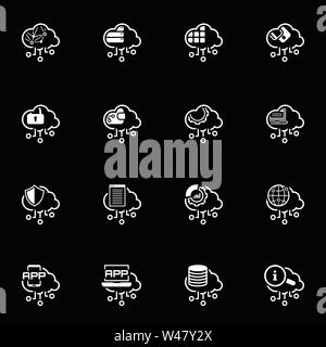 Simple Set of Cloud Computing Related Vector Line Icons - Stock Photo