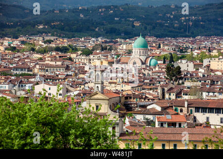 Great Synagogue of Florence and view of the beautiful city of Florence from Michelangelo Square - Stock Photo