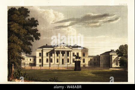 Hackwood Park House, Basingstoke, seat of Thomas Orde Powlett, 1st Baron Bolton. Statue of King George I in front of Ionic portico designed by architect Lewis Wyatt, with gardens landscaped by Charles Bridgeman and later by Lady Bolton. Handcoloured copperplate engraving from Rudolph Ackermann's Repository of Arts, London, 1825. - Stock Photo