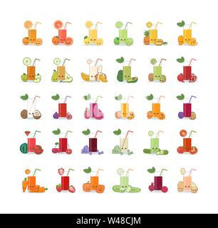 Set of fruit and vegetable juice. Cute kawai smiling cartoon juice with slices in a glass with juice straw. - Stock Photo