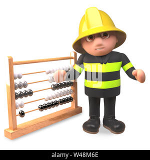 Cartoon fireman firefighter character points to an abacus, 3d illustration render - Stock Photo