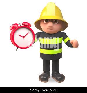 Brave hero firefighter fireman character setting his alarm clock, 3d illustration render - Stock Photo