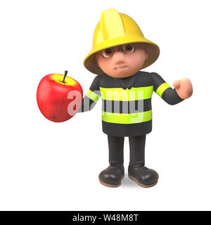 3d firefighter fireman character in high visibility clothing eating a red apple, 3d illustration render - Stock Photo