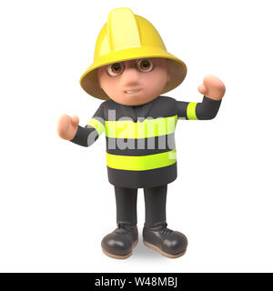Cartoon 3d fireman firefighter character in high visibility clothing cheers with joy, 3d illustration render - Stock Photo