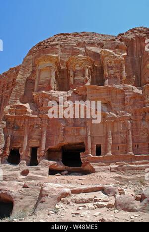 The Corinthian Tomb in the lost city of Petra, Jordan - Stock Photo
