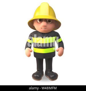 3d cartoon fireman firefighter character in high visibility clothing, 3d illustration render - Stock Photo