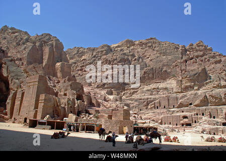 The Street of Facades in the lost city of Petra, Jordan - Stock Photo