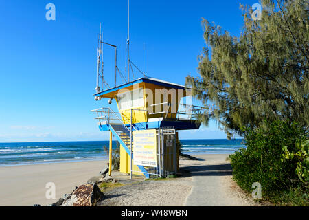 Colourful lifeguards' watching tower at Noosa Heads, Sunshine Coast, Queensland, QLD, Australia - Stock Photo