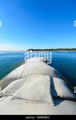 Sea defense against coastal erosion at Noosa Heads, Sunshine Coast, Queensland, QLD, Australia - Stock Photo